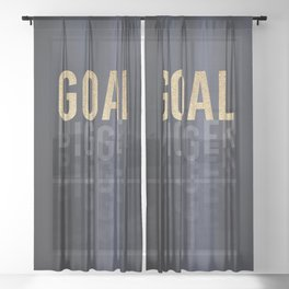 Goal Digger - Gold on Black Sheer Curtain