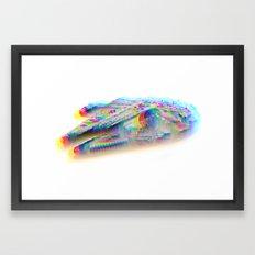 Millennium Falcon Star Glitch Wars Framed Art Print