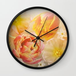 Tulips in pink, orange and yellow Wall Clock