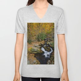 Photo USA Tennessee Creek Autumn Nature forest Stones brook Creeks Stream Streams Forests stone Unisex V-Neck