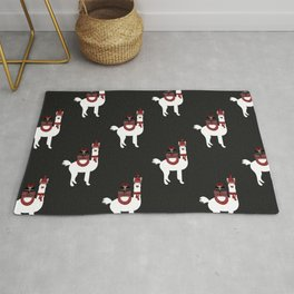 Christmas Llama Pattern on black Rug
