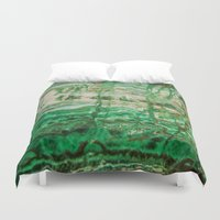 minerals Duvet Covers featuring MINERAL BEAUTY - MALACHITE by Catspaws