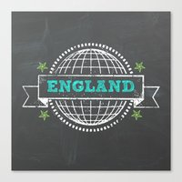 england Canvas Prints featuring England by My Little Thought Bubbles