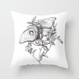 Moon Moth Throw Pillow
