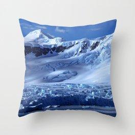 Gorgeous Fascinating Blueish Snowy Antarctic Mountain Range Ultra HD Throw Pillow