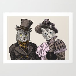 The Owl and the Pussycat | Anthropomorphic Owl and Cat | Art Print
