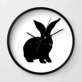 Rabbit Black Silhouette Animal Pet Cool Style Wall Clock
