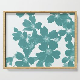 Floral Teal Serving Tray