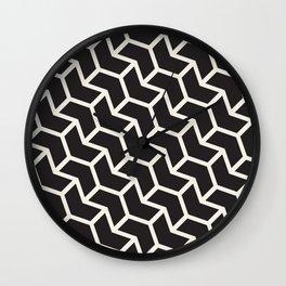 Black & White Geometric Pattern Chevron Arrow Interlock Wall Clock
