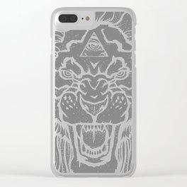 Three eye lion Clear iPhone Case
