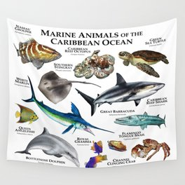 Marine Animals of the Caribbean Ocean Wall Tapestry