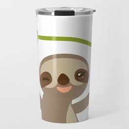 funny and cute smiling Three-toed sloth on green branch 2 Travel Mug
