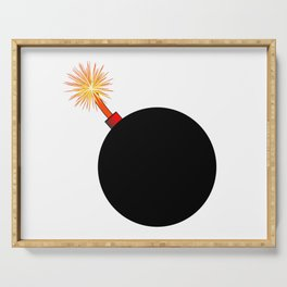 Old Black Cartoon style Bomb With Lit Fuse Serving Tray