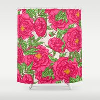 peonies Shower Curtains featuring peonies by melazerg