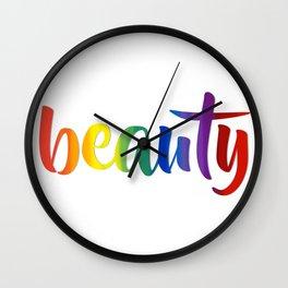 Rainbow Beauty #typography #society6 Wall Clock