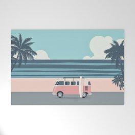 Surfer Graphic Beach Palm-Tree Camper-Van Art Welcome Mat