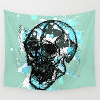 rave Wall Tapestries featuring Rave Skull With Blue by Cat Milchard
