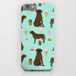 chocolate lab ice cream cute funny dog breed pet pattern labrador retriever iPhone Case