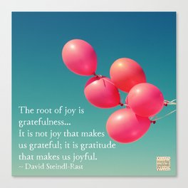 Gratitude - the root of joy Canvas Print