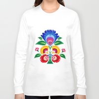 folk Long Sleeve T-shirts featuring folk flower by bachullus