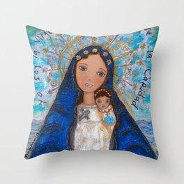 La Virgen de la Caridad del Cobre by Flor Larios Throw Pillow