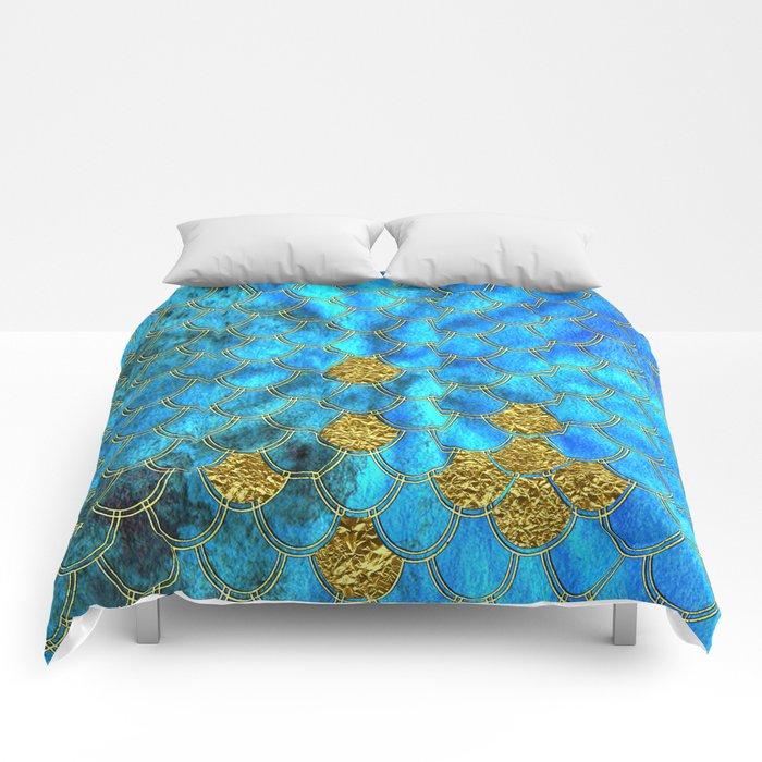 Blue Aqua Turquoise And Gold Glitter Mermaid Scales -Beautiful Mermaidscales Pattern Comforters