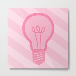 Pastel Pink Light Bulb Metal Print