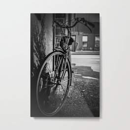 Black and White Bike Metal Print