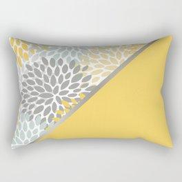 Modern, Floral Prints, with Block Color, Yellow, Aqua, Gray Rectangular Pillow