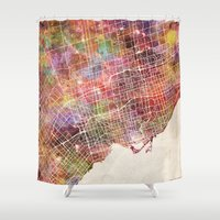 toronto Shower Curtains featuring Toronto by MapMapMaps.Watercolors