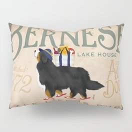 Bernese Lake House dog art Pillow Sham