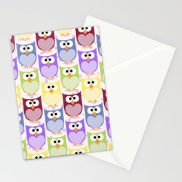 Colorful Owls - Green Blue Purple Yellow Stationery Cards