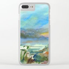 Beautiful foggy morning on the lake Clear iPhone Case