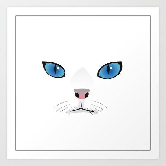 Little white cat Art Print