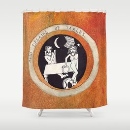 Ontological box - Tables Shower Curtain