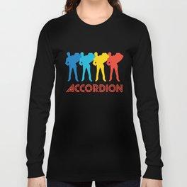 Accordion Player Retro Pop Art Graphic Long Sleeve T-shirt