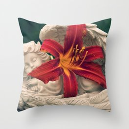 Angel and Daylily Throw Pillow
