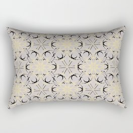Beige, black pattern on grey background. Rectangular Pillow