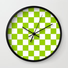Damier 3 green and white Wall Clock