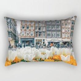 Houses and tulips Rectangular Pillow