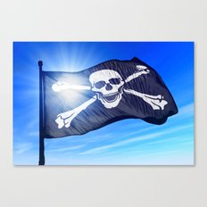 Pirate skull and crossbones flag waving on the wind Canvas Print