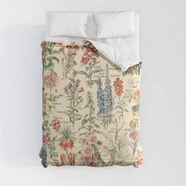 Vintage Floral Drawings // Fleurs by Adolphe Millot XL 19th Century Science Textbook Artwork Comforters
