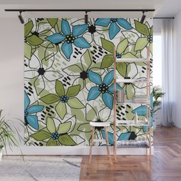 Olive and blue flowers Wall Mural