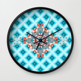 Folkloric Lovebirds Ombre Wall Clock
