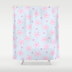 Kawaii Sakura Cherry Blossom Shower Curtain