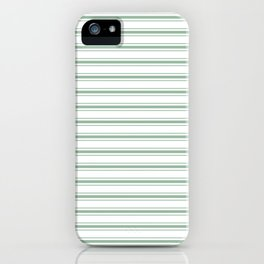 Moss Green and White Mattress Ticking Wide Striped Pattern iPhone Case
