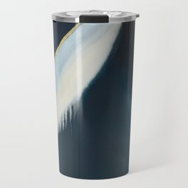 Daydream: a pretty, minimal, abstract, mixed-media piece in blue and gold by Alyssa Hamilton Art Travel Mug