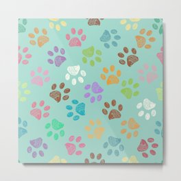 Doodle colorful paw candy colors pattern Metal Print