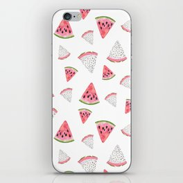 Fruity hand painted watercolor pink red black watermelon iPhone Skin