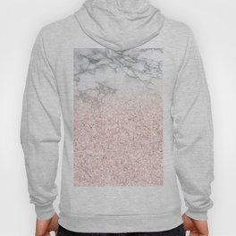 She Sparkles - Pastel Pink Glitter Rose Gold Marble Hoody